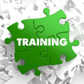 Training on Green Puzzle. Royalty Free Stock Photo
