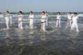 Training of karate at the beach of midwinter japan ehime january japanese martial art houses new year ichinomiya january in ehime Stock Photo