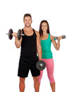 Training with my personal trainer isolated on white Stock Image