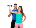 Training with my personal trainer isolated on white Royalty Free Stock Photos
