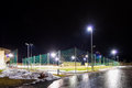 Training soccer field with flood light at night Royalty Free Stock Photo