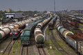 Trains of freight wagons in marshalling yard, Russia. Royalty Free Stock Photo