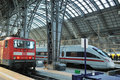 Trains at platforms in Frankfurt train station Royalty Free Stock Photography