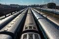 Trains at train station. Trivandrum, India Royalty Free Stock Photo