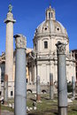 Trajan column and Ulpia Basilica Stock Image