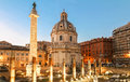 Trajan`s Column and The Church of the Most Holy Name of Mary at the Trajan Forum, Rome, Italy.