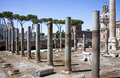 The trajan s market with ancient columns rome italy view of ruins in Royalty Free Stock Images