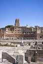 Trajan s market ancient roman architecture is a large complex of ruins in the city of rome italy located on the via dei fori Royalty Free Stock Images