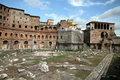 Trajans market is a large complex of ruins in the city of rome italy located on the via dei fori imperiali at the opposite end to Royalty Free Stock Image