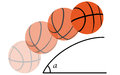 Trajectory of a basketball explaining the theory through the motion Stock Image