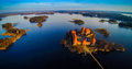 Trakai castle and lake islands Royalty Free Stock Photo