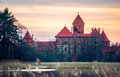 Trakai castle lithuania sunset warm color Royalty Free Stock Photos