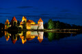 Trakai castle at night island in is one of the most popular tourists destinations in lithuania houses a museum and a Stock Images