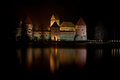 Trakai castle traku pilis in lithuania near vilnius at night Royalty Free Stock Photo