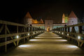Trakai castle traku pilis in lithuania near vilnius at night Royalty Free Stock Image