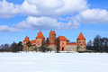 Trakai island castle in wintertime Stock Photo