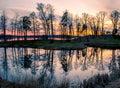 Trakai landscape uzutrakis lithuania evening sky and lake reflection of tress Stock Images