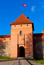 Trakai, Lithuania: central tower of castle with flag Stock Photography