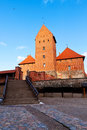 Trakai, Lithuania: main entrance to the ancient castle Stock Image