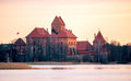 Trakai at sunset castle lithuania warm color Stock Images