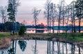 Trakai uzutrakis lithuania evening sky and lake reflection of tress Royalty Free Stock Image