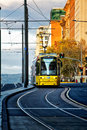 Tram in adelaide australia june a runs down north terrace towards the railway station s system was once extensive but Stock Photography
