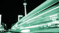 Tram in berlin and tv tower by night Royalty Free Stock Photo