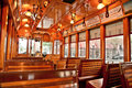 Tram car interior gorgeous of a tramcar in tampa highly polished wood Royalty Free Stock Photography