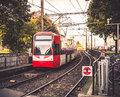 Tram in city a and rails Stock Images