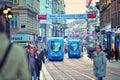Tram de ville Photographie stock libre de droits