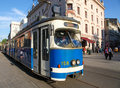 Tram franciscanska street krakow poland april Royalty Free Stock Photo