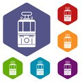 Tram front view icons set hexagon