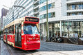 Tram in hague netherlands august arrives to center of the system of the city started and has now lines Stock Images