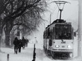 Tram harsh winter in bucharest romania Stock Photo
