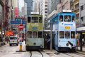 Tram in hong kong island photo of the the business district of Stock Image