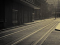 Tram lines atmospheric image of old running through city streets Stock Photo