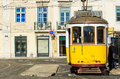 Tram lisbon portugal december the number traveling along a street in the city of lisbon Royalty Free Stock Image