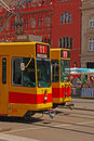 Tram no in basel two trams front of town hall at marktplatz Stock Image