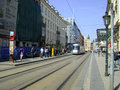 Tram in prague czech republic april new modern is on station the city of Stock Photography