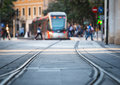 Tram and rails in city Stock Photo