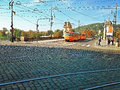 Tram running from the legion bridge prague czech republic september orange coloured is to centre of city Stock Photos