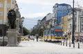 Tram in sofia bulgaria june tramcar is travalling through the lions bridge s capital Stock Image
