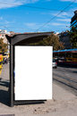 Tram station with the blank billboard Stock Photo