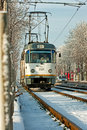 Tram station view of the in bucharest Stock Photo