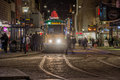 Tram stop at christmas time norrkoping sweden – december a decorated stops drottninggatan on a dark december afternoon in Stock Photos