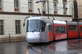 Tram the on the street of prague Royalty Free Stock Photos