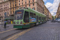 Tram in the street of rome Stock Photography