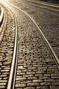 Tram Track Curve Royalty Free Stock Photos