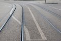 Tram Tracks and Road Markings Stock Photos