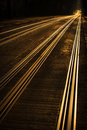 Tram tracks at sunset in town Stock Images